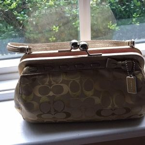 Coach silk and suede evening bag